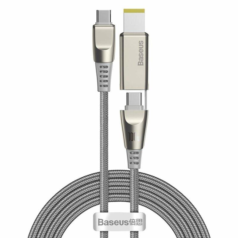 Cablu De Date Baseus Type C / C+DC 100W Cu Incarcare Rapida Si Adaptor Laptop Lenovo 5A - 2m - CA1T2-B0G - Gri