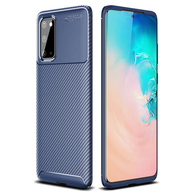 Husa Samsung Galaxy S20 5G Carbon Fiber Skin - Albastru