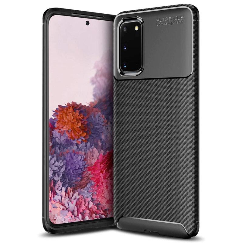 Husa Samsung Galaxy S20 Carbon Fiber Skin - Negru