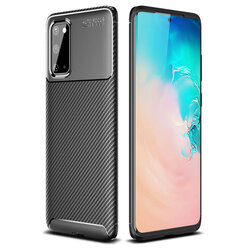 Husa Samsung Galaxy S20 5G Carbon Fiber Skin - Negru