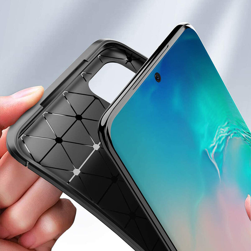 Husa Samsung Galaxy S20 Plus Carbon Fiber Skin - Negru