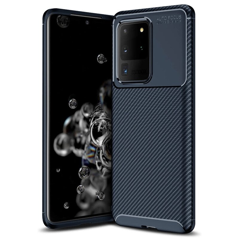 Husa Samsung Galaxy S20 Ultra 5G Carbon Fiber Skin - Albastru
