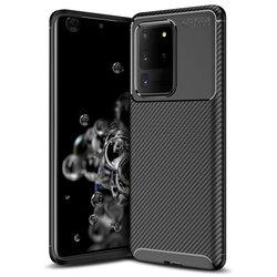 Husa Samsung Galaxy S20 Ultra 5G Carbon Fiber Skin - Negru