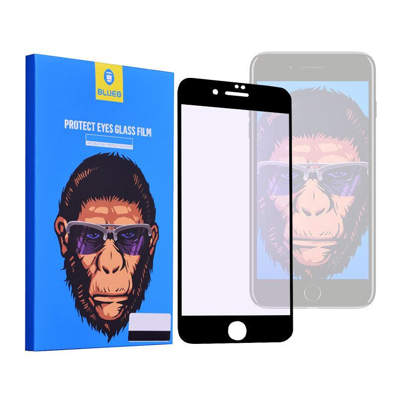 Folie Sticla iPhone 8 Blueo 5D Mr. Monkey Strong Anti-Blue - Negru