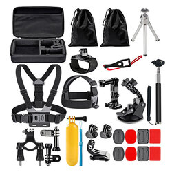 Set Accesorii GoPro Hero/Sony Action Camera/ Xiaomi Yi 15in1 Selfie Stick/ Suport Auto - Negru