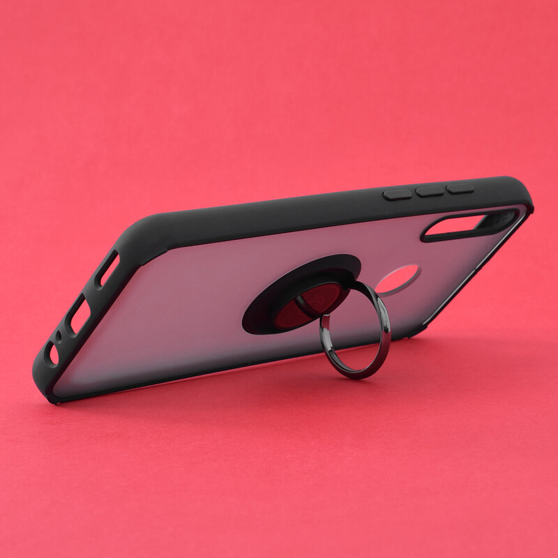 Husa Huawei P40 Lite E Mobster Glinth Cu Inel Suport Stand Magnetic - Negru