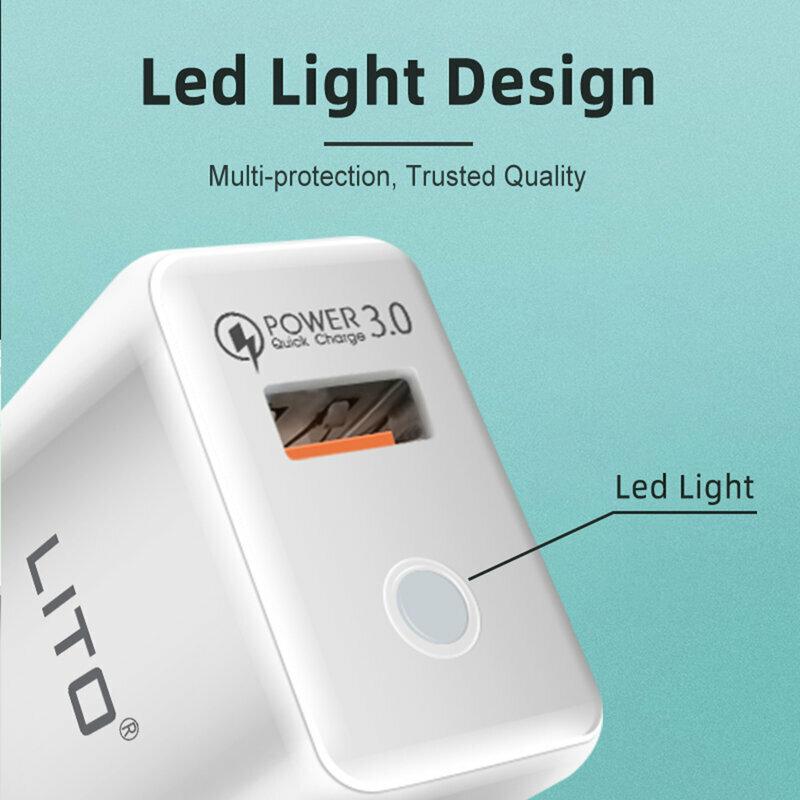Incarcator Priza Lito QO-101 USB QC3.0 Cu Lumina LED 3A + Cablu De Tip USB / Lightning - Alb