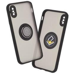 Husa iPhone X, iPhone 10 Mobster Glinth Cu Inel Suport Stand Magnetic - Negru