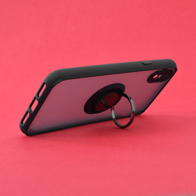 Husa iPhone XS Mobster Glinth Cu Inel Suport Stand Magnetic - Negru