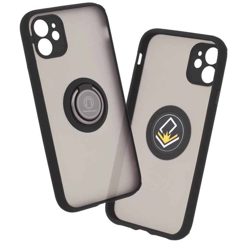 Husa iPhone 11 Mobster Glinth Cu Inel Suport Stand Magnetic - Negru