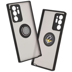 Husa Samsung Galaxy Note 20 Ultra 5G Mobster Glinth Cu Inel Suport Stand Magnetic - Negru