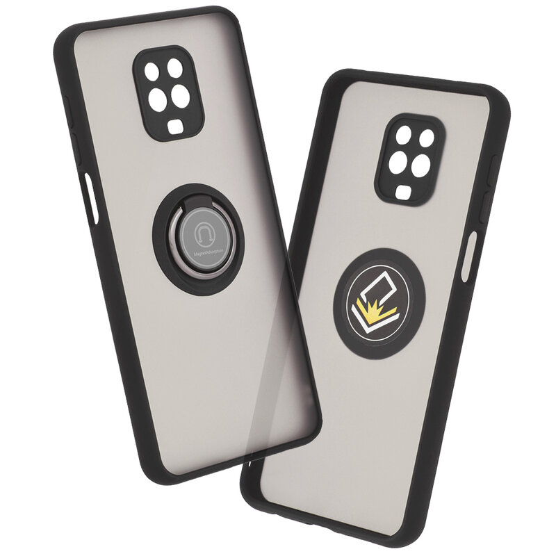 Husa Xiaomi Redmi Note 9 Pro Mobster Glinth Cu Inel Suport Stand Magnetic - Negru