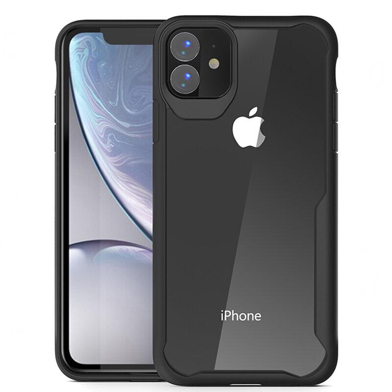 Husa iPhone 12 Mobster Glaast Series Transparenta - Negru
