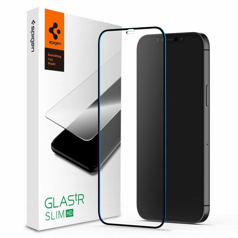 Folie Sticla iPhone 12 Spigen Glas.t R Slim HD - Black