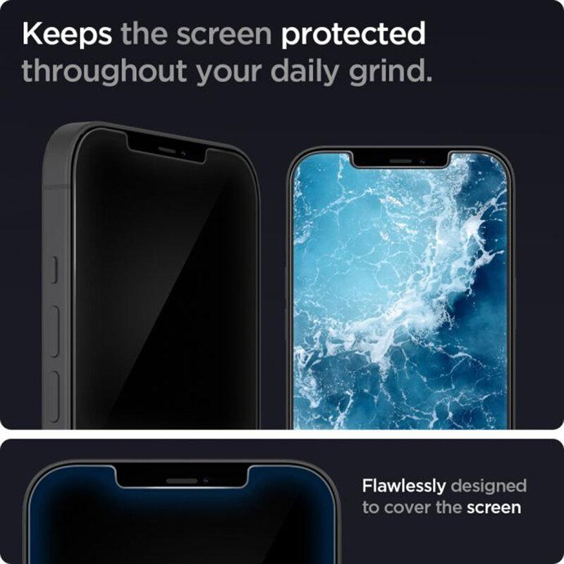 Folie Sticla iPhone 12 Pro Spigen Glas.t R Slim HD - Black