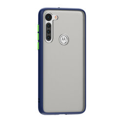 Husa Motorola Moto G8 Mobster Chroma Cu Butoane Si Margini Colorate - Albastru