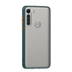 Husa Motorola Moto G8 Mobster Chroma Cu Butoane Si Margini Colorate - Verde Inchis