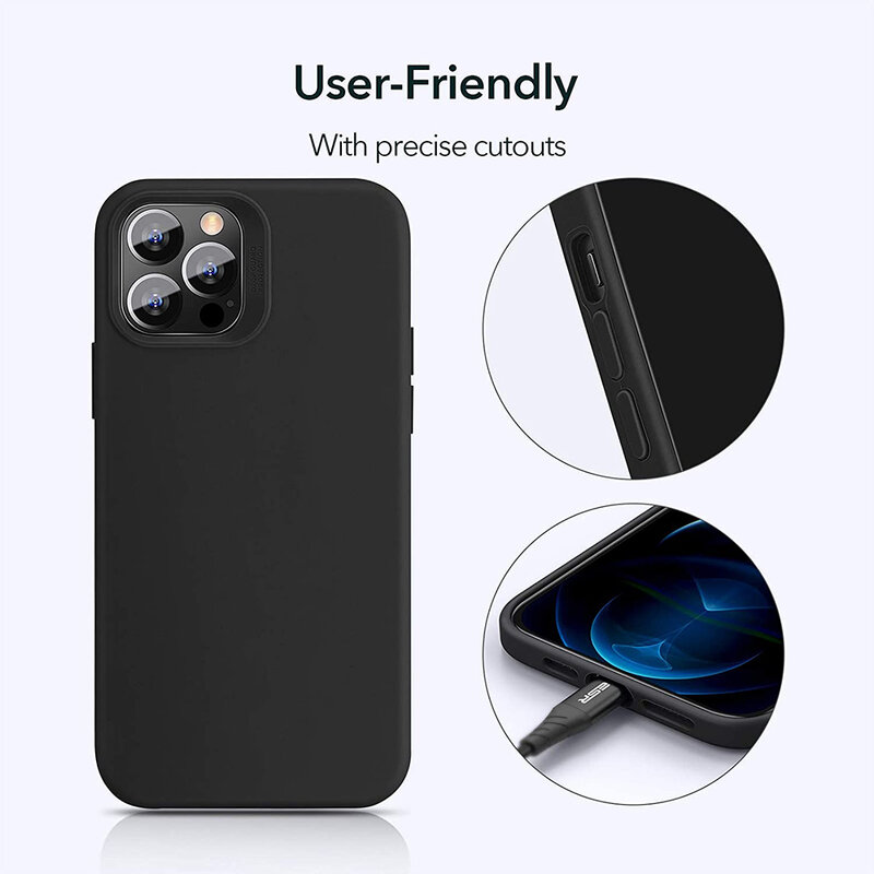 Husa iPhone 12 Pro Max ESR Cloud Flexibila Din Silicon Si Microfibra - Negru