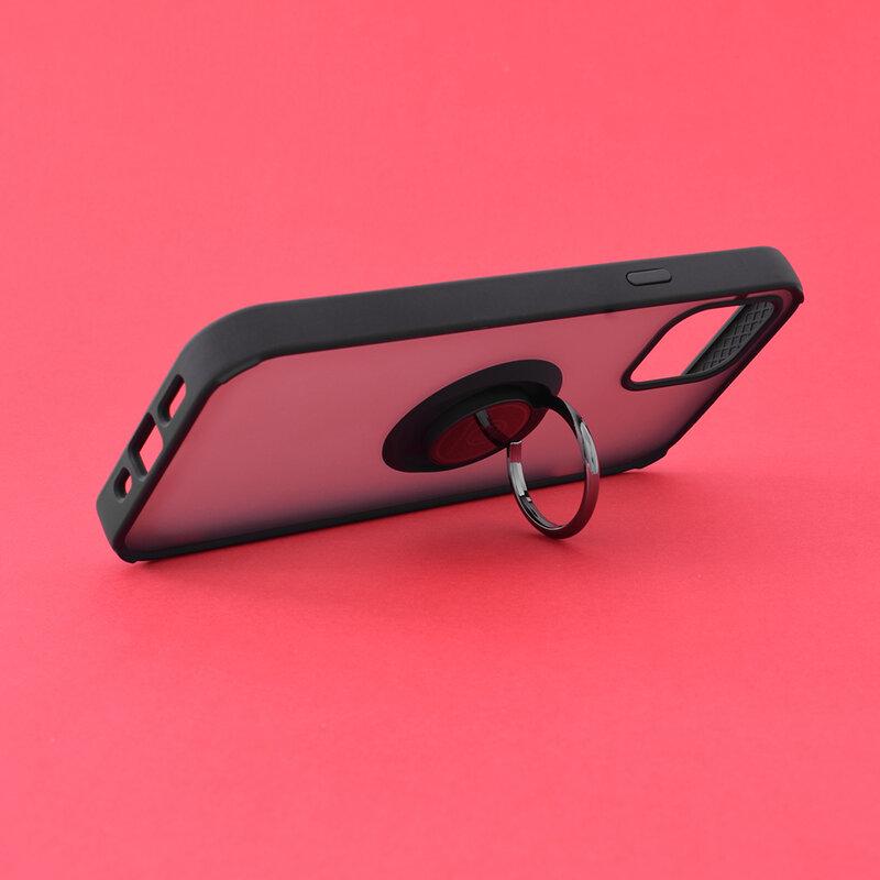 Husa iPhone 12 Mobster Glinth Cu Inel Suport Stand Magnetic - Negru