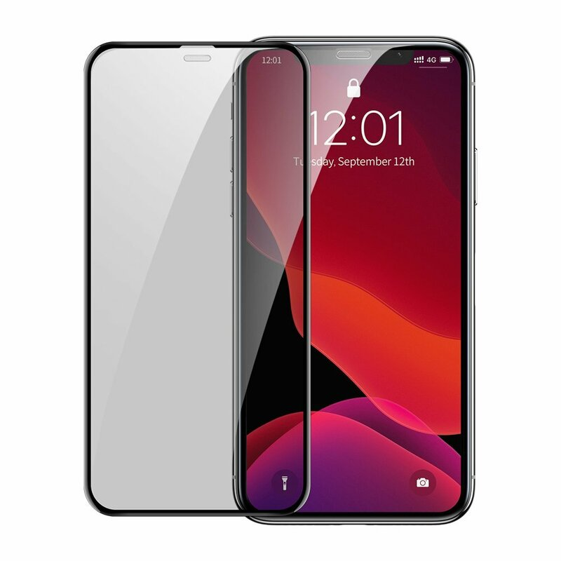 [Pachet 2x] Folie Sticla iPhone 11 Baseus Privacy Speaker Dust Protector - SGAPIPH61S-WC01 - Negru