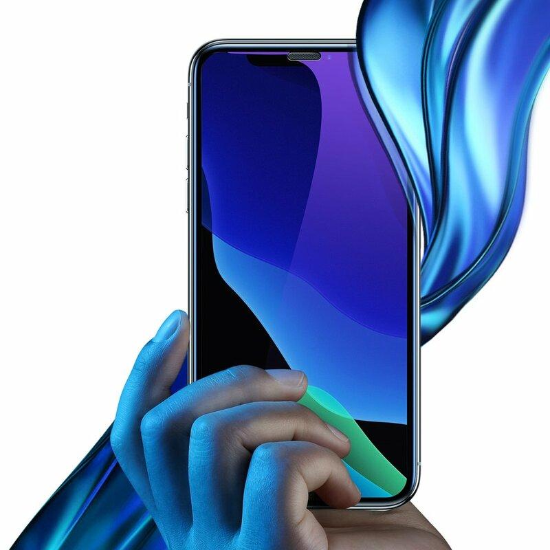 [Pachet 2x] Folie Sticla iPhone 11 Baseus Anti-Bluelight Full Cover - SGAPIPH61S-KD01 - Negru