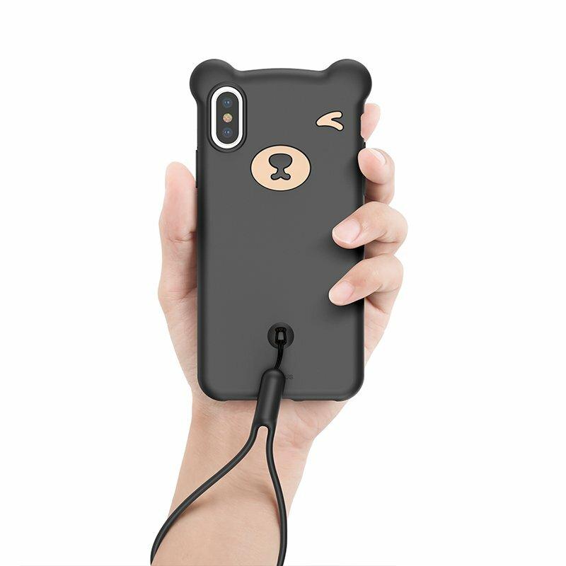 Husa iPhone XS Max Baseus Bear Plus Curea Pentru Incheietura - WIAPIPH65-BE01 - Negru