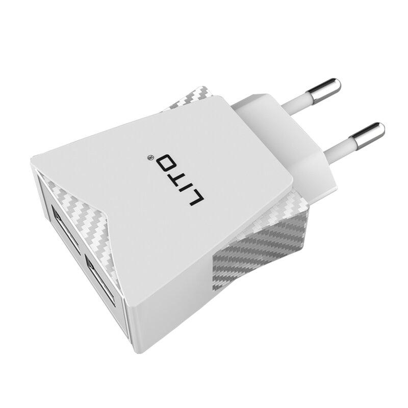 Incarcator Priza Lito CO-201 Dual USB Cu Cablu De Incarcare Type-C 2.4A - Alb