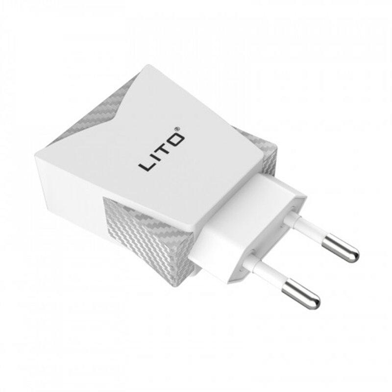 Incarcator Priza Lito CO-201 Dual USB Cu Cablu De Incarcare Micro-USB 2.4A - Alb