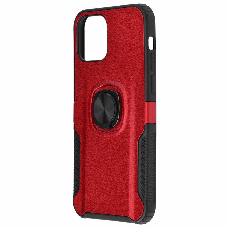 Husa iPhone 12 Hybrid Cu Inel Suport Stand Magnetic - Rosu