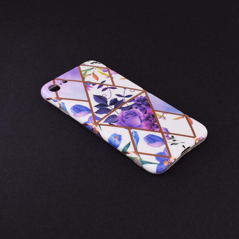 Husa iPhone SE 2, SE 2020 Mobster Laser Marble Shockproof TPU - Model 2