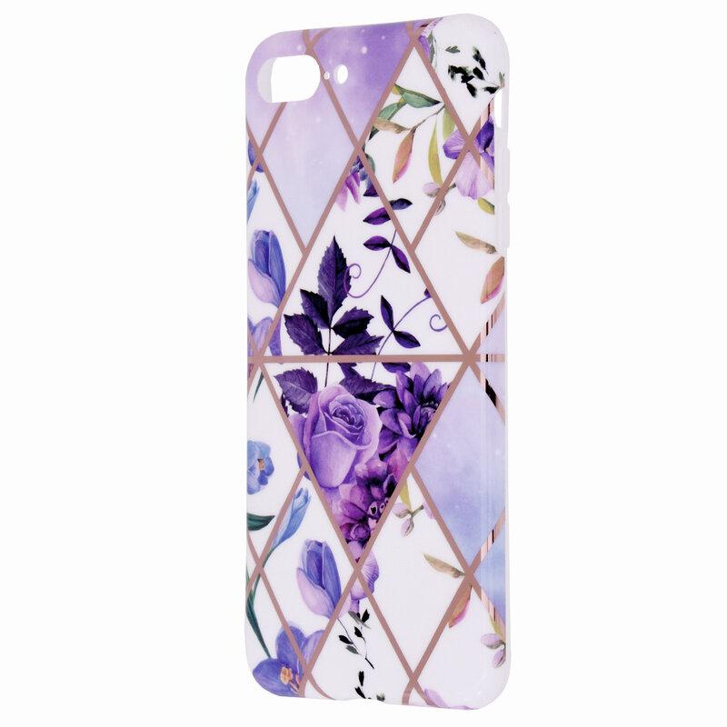 Husa iPhone 8 Plus Mobster Laser Marble Shockproof TPU - Model 2
