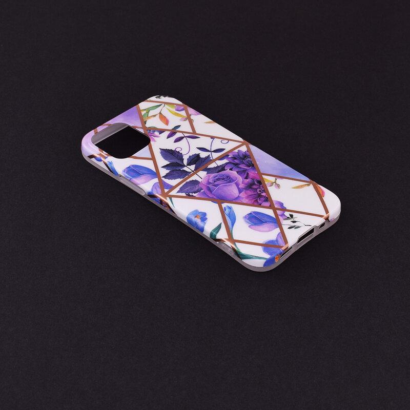 Husa iPhone 12 mini Mobster Laser Marble Shockproof TPU - Model 2