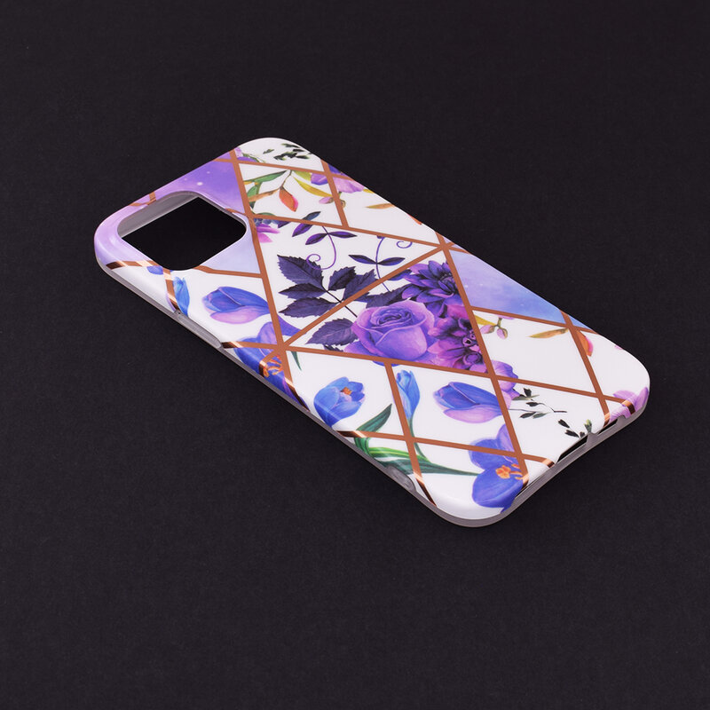 Husa iPhone 12 Pro Max Mobster Laser Marble Shockproof TPU - Model 2