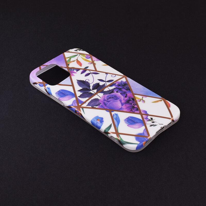 Husa iPhone 12 Mobster Laser Marble Shockproof TPU - Model 2