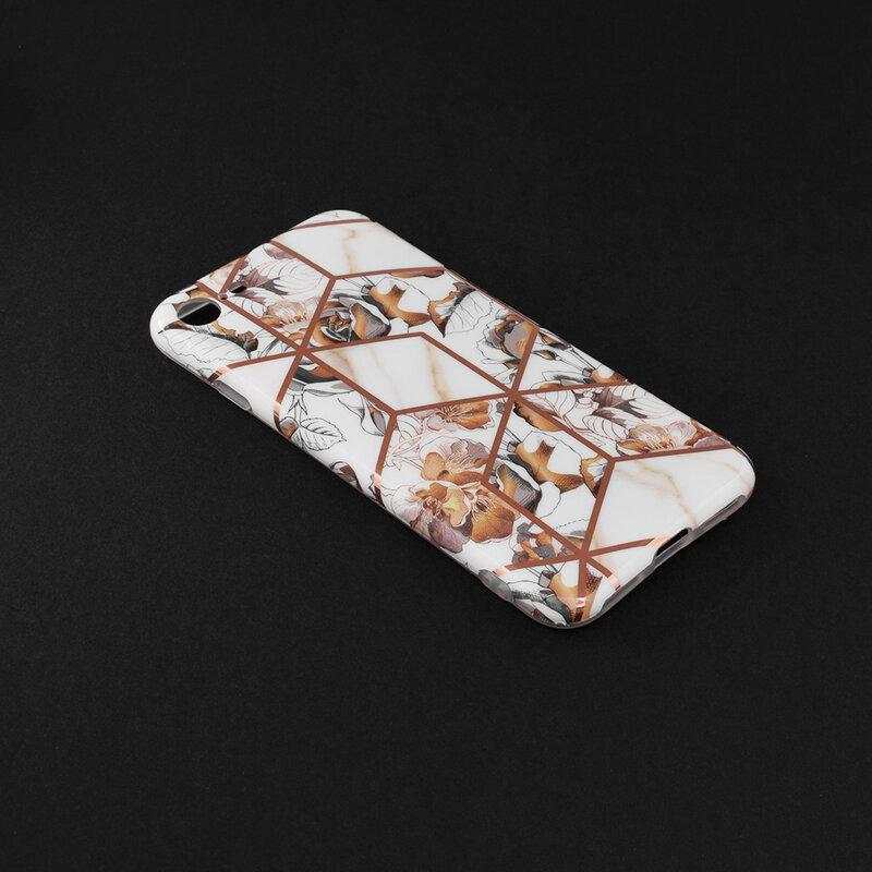 Husa iPhone SE 2, SE 2020 Mobster Laser Marble Shockproof TPU - Model 1