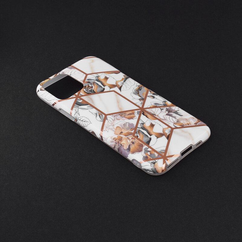 Husa iPhone 11 Pro Mobster Laser Marble Shockproof TPU - Model 1