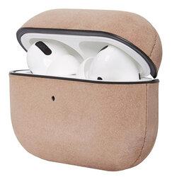 Husa Apple Airpods Pro Decoded Leather Case Din Piele Naturala Premium Fabricata Manual - Roz/Gri
