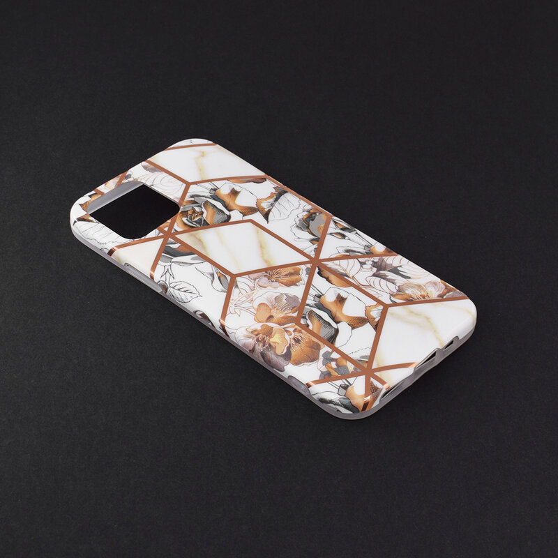 Husa iPhone 12 Mobster Laser Marble Shockproof TPU - Model 1