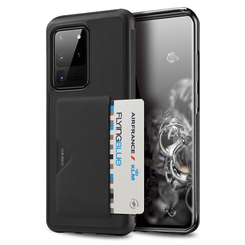 Husa Samsung Galaxy S20 Ultra 5G Dux Ducis Pocard Series Cu Buzunar Exterior Pentru Carduri - Negru