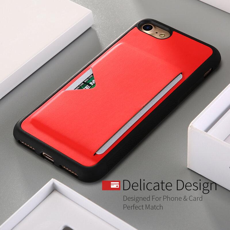 Husa iPhone 8 Dux Ducis Pocard Series Cu Buzunar Exterior Pentru Carduri - Rosu