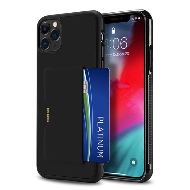 Husa iPhone 11 Pro Max Dux Ducis Pocard Series Cu Buzunar Exterior Pentru Carduri - Negru