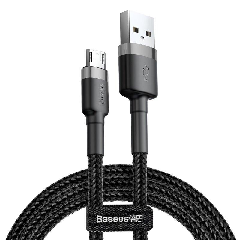 Cablu De Date Micro-USB Baseus Cafule Velcro 1.5A 2m - CAMKLF-CG1 - Negru-Gri