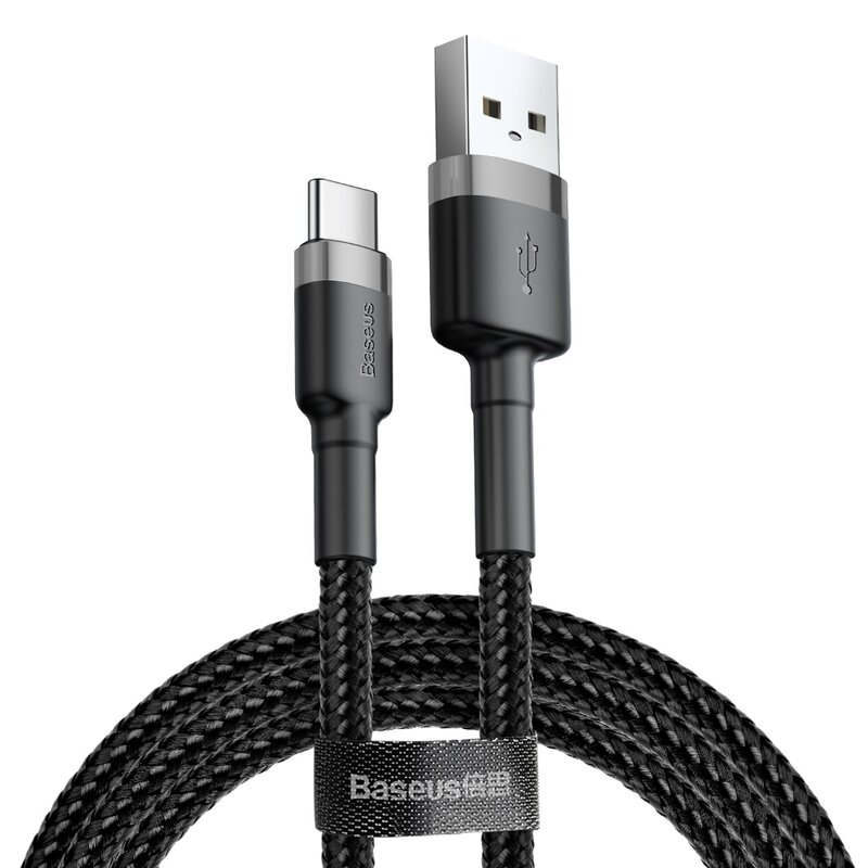 Cablu de date Baseus Cafule Cu Incarcare Rapida USB/Type C - 3A - 1m - CATKLF-BG1 - Negru/Gri