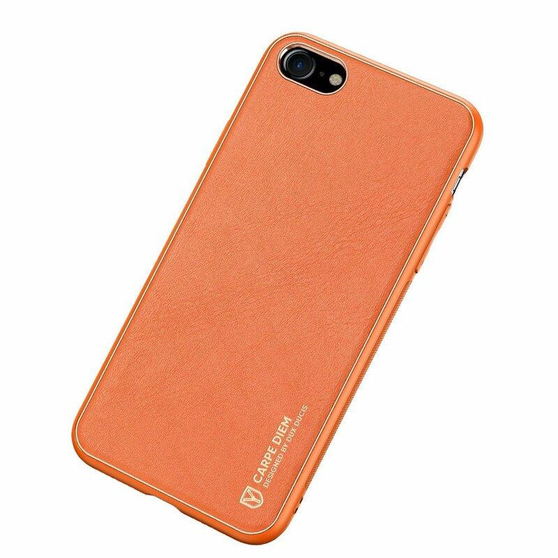 Husa iPhone 8 Dux Ducis Yolo Din Piele Ecologica - Portocaliu
