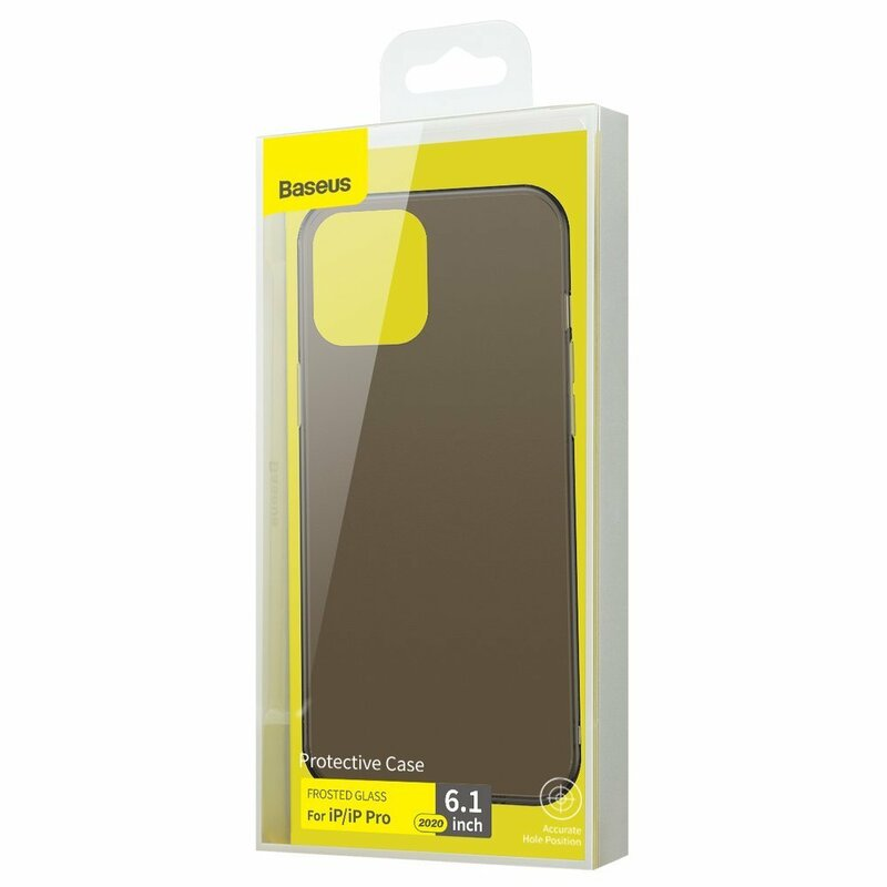 Husa iPhone 12 Pro Baseus Frosted Glass Transparenta - WIAPIPH61P-WS01 - Negru