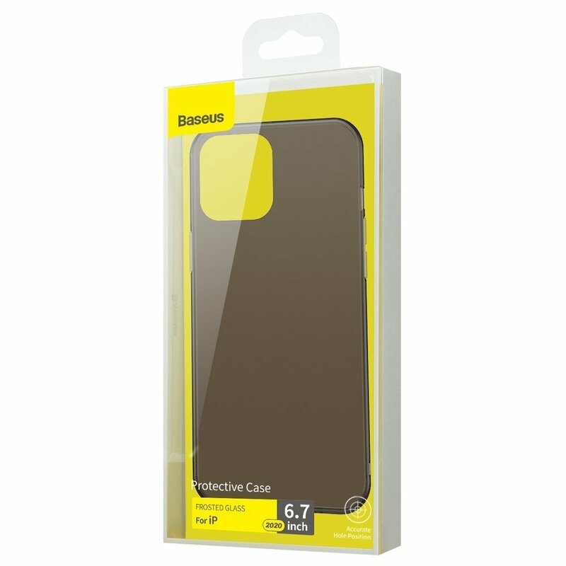 Husa iPhone 12 Pro Max Baseus Frosted Glass Transparenta - WIAPIPH67N-WS01 - Negru