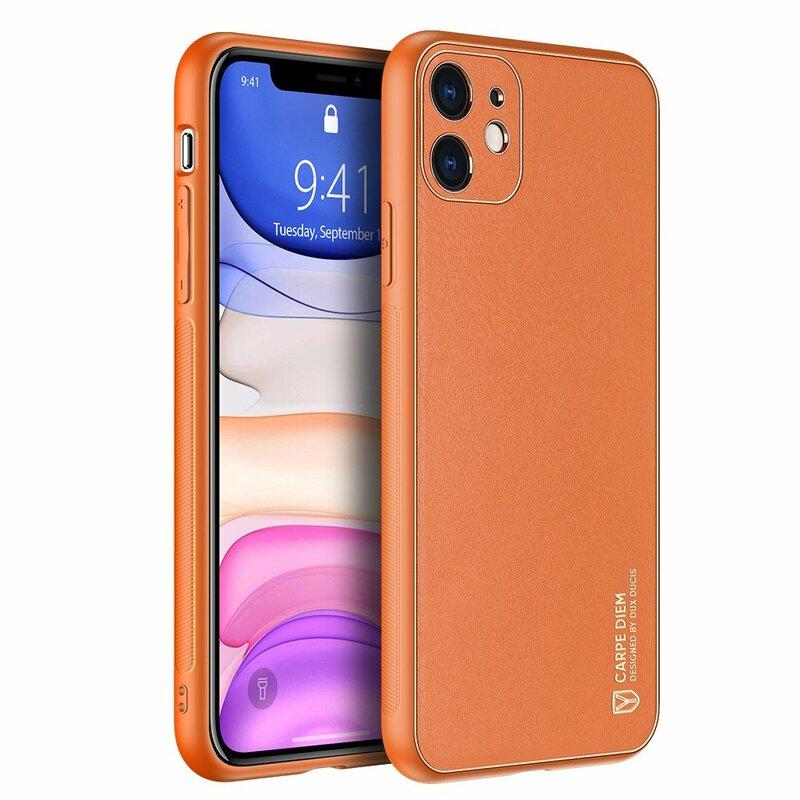 Husa iPhone 11 Dux Ducis Yolo Din Piele Ecologica - Portocaliu