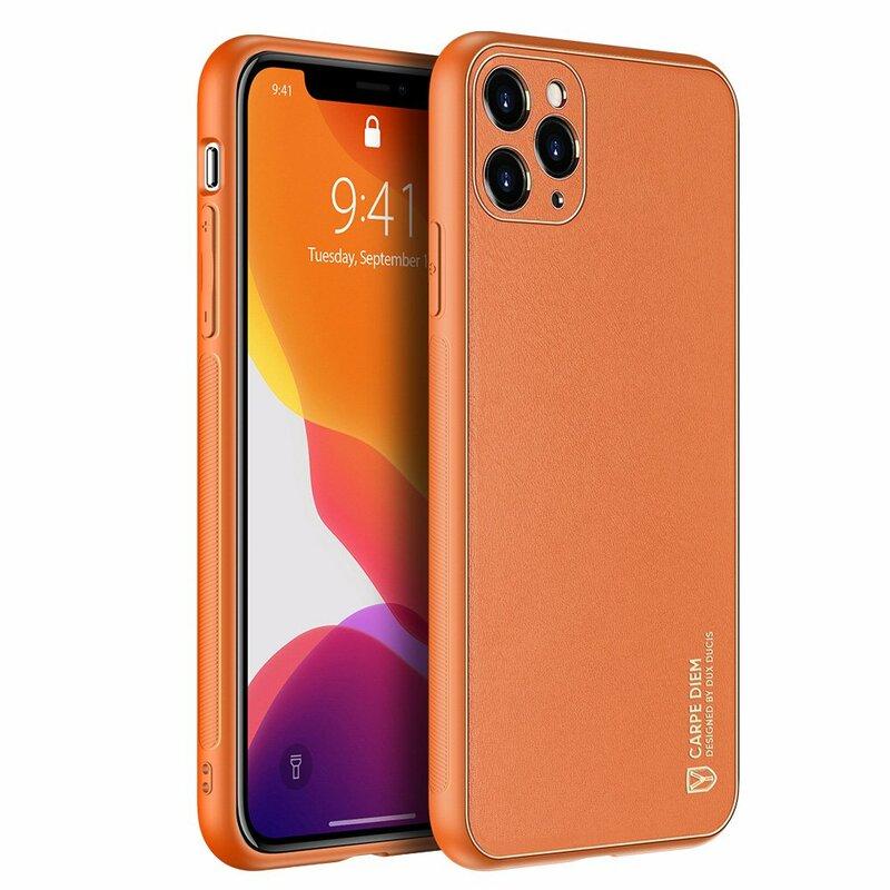 Husa iPhone 11 Pro Dux Ducis Yolo Din Piele Ecologica - Portocaliu