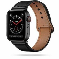 Curea Apple Watch 6 44mm Tech-Protect LeatherFit Din Piele Naturala - Negru