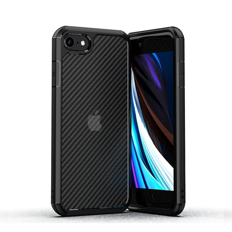 Husa iPhone 8 Mobster Carbon Fuse Transparenta - Negru